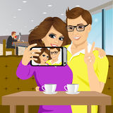 Couple taking selfie photo together Stock Photo