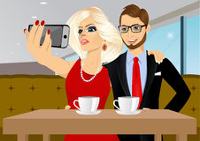 Couple taking selfie photo together Stock Image