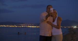 Couple Taking Selfie during Romantic Walk stock video