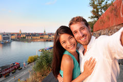 Couple taking selfie self portrait in Stockholm Royalty Free Stock Images