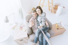 Couple taking selfies royalty free stock photos