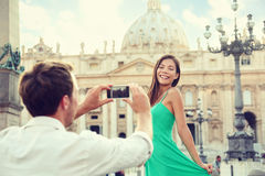 Couple taking smartphone picture at Vatican, Italy Royalty Free Stock Photography