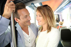 Couple taking tramway Stock Images