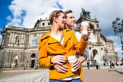 Couple taking walk at Semperoper in Dresden Stock Photography