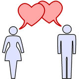 Couple talk love in heart speech bubbles. A couple of lovers talk love in heart speech bubbles at valentines or any time Royalty Free Stock Images
