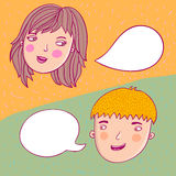 Couple talking. Guy and girl talking illustration Stock Images