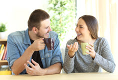 Couple talking during breakfast at home Royalty Free Stock Photo