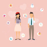Couple talking on a cell phone. Cartoon man and woman in love.  Stock Images