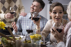 Couple talking with elderly parents. Cropped shot of a young couple talking with their elderly parents and drinking red wine royalty free stock photo