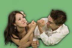 Couple talking on floor Stock Photo