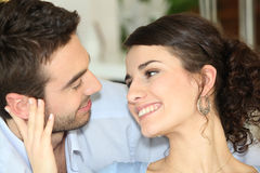 Couple talking at home stock image