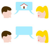 Couple talking about the home of desires Royalty Free Stock Photos