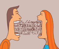 Couple talking and sharing a conversation. Cartoon illustration of couple talking a lot and sharing a meaningful conversation royalty free illustration