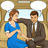 Couple talking in taxi pop art style vector Royalty Free Stock Images