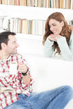 Couple talking to each other smiling in the morning. Romantic conversation between two people, listening is important royalty free stock photo