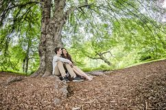 Couple talking under a big tree Stock Photos