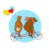 Couple on a tandem bicycle.  EPS,JPG. Couple on a tandem bicycle. Advertising for bike rental. Bears ride a bike. Couple with multi-colored balloons on a walk Stock Photography