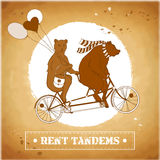 Couple on a tandem bicycle. EPS,JPG. Couple on a tandem bicycle. Advertising for bike rental in retro style. Bears ride a bike. Couple with balloons on a walk Royalty Free Stock Images