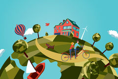 Couple on tandem bike. My little planet. Spherical non-urban landscape with a couple on a tandem bike royalty free illustration