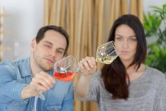 Couple tasting glass wine royalty free stock photo