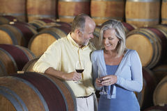 Couple Tasting Red Wine In Cellar Stock Images