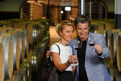 Couple tasting wine in a cellar. Tourism - Couple tasting wine in a cellar Royalty Free Stock Photo