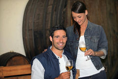 Couple tasting wine Stock Images