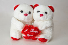 Couple teddy bears with heart. Romantic gift for someone you love Stock Images