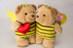 Couple teddy bears with heart Royalty Free Stock Image