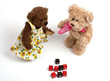 Couple teddy bears with heart. Valentine's day.  Royalty Free Stock Image