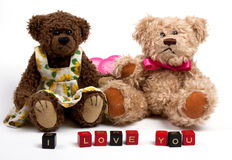 Couple teddy bears with heart. Valentine's day Stock Images