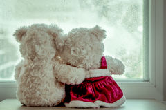 Couple teddy bears in love's embrace Stock Image