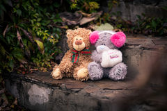 Couple of teddy bears sitting together on the stone stairs. They looks like a couple boy and girl. Teddy bear girl keeps muff with inscription someone special Stock Photo