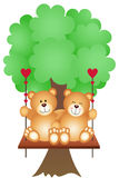 Couple Teddy Bears Swing on a Tree Stock Image