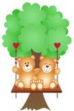 Couple Teddy Bears Swing on a Tree Stock Image