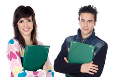 Couple of teen students returning to college. On a white background stock images