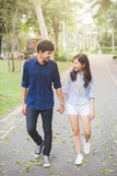 Couple teen. Couple walking in garden. Them hand in hand and smile with happiness royalty free stock image