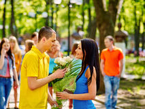 Couple of teenager on date outdoor Royalty Free Stock Image