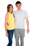 Couple of teenagers. On the white background Royalty Free Stock Photo
