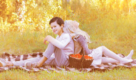 Couple teenagers in autumn Stock Images
