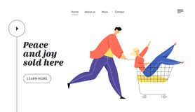 Couple of Teenagers Fool in Supermarket Riding Trolley. Happy Man Pushing Shopping Cart with Girlfriend Sit inside vector illustration