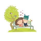 Couple teenagers sitting on the bench. Vector illustration Royalty Free Stock Images