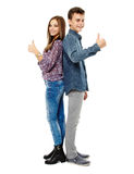Couple of teens. Boy and girl teenagers, friends, isolated on white background Royalty Free Stock Images