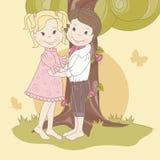 Couple  teens under tree . Stock Image