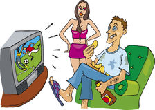 Couple television fan. Cartoon illustration of couple angry woman and television fan guy Stock Image