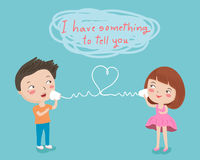 Couple tell to love character illustration Stock Images