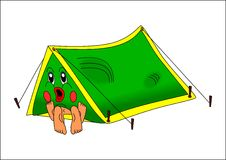 Couple in tent. Couple lying in a small tent stock illustration