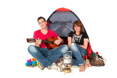 Couple in tent Royalty Free Stock Photos