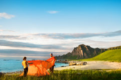 Couple with tent Royalty Free Stock Photo