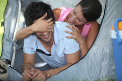 Couple in a tent Royalty Free Stock Image